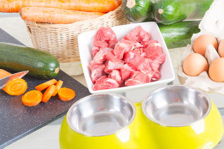 54602161 - natural, organic dog's food with ingredients zucchini, carrot and raw meat